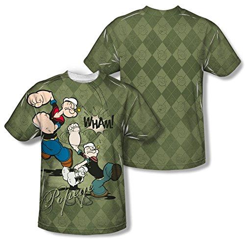Argyle Print Tee (Popeye - Argyle Punch (Front/Back Print) T-Shirt Size M)