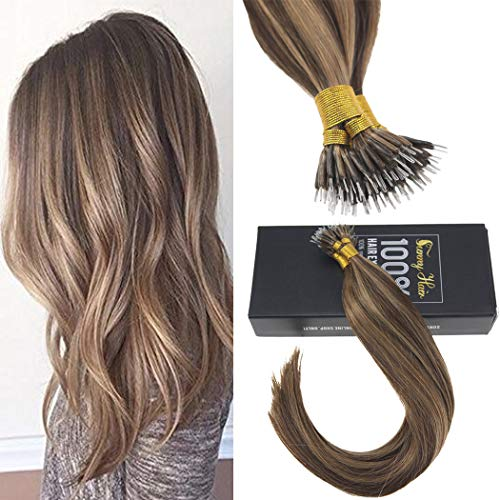 Sunny 20inch Nano Tip Human Hair Extensions Color Dark Brown #4 Mixed Caramel Blonde #27,Nano Ring Hair Extensions Human Hair,Silky Straight, 50gram Per Pack (Keratip Extensions)