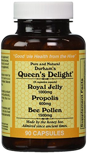 Durham's Queen's Delight (Royal Jelly 1000mg, Propolis 600mg, Beepollen 1500mg) in 3 Daily Capsules