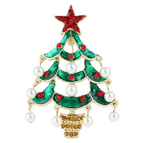 EVER FAITH Red Star Teardrop Wishing Tree Brooch Austrian Crystal Simulated Pearl Gold-Tone