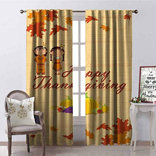 Gloria Johnson Kids Thanksgiving Shading Insulated Curtain Children in Native American Costume Preserving Indigenous Heritage Soundproof Shade W52 x L63 Inch Orange Multicolor