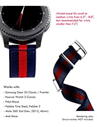 Truffol 22mm 2-Piece NATO Strap for Samsung Gear S3 Frontier & Classic, Fitbit Blaze, Huawei Watch 2 Classic - Quick Release Nylon Watch Band with Steel Metal Buckle Loop (Navy Blue & Red)