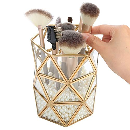 Pahdecor Clear Glass Makeup Brush Holder Vintage Jewelry Organizer Metal Handmade Art Crafts Pearls Not Included