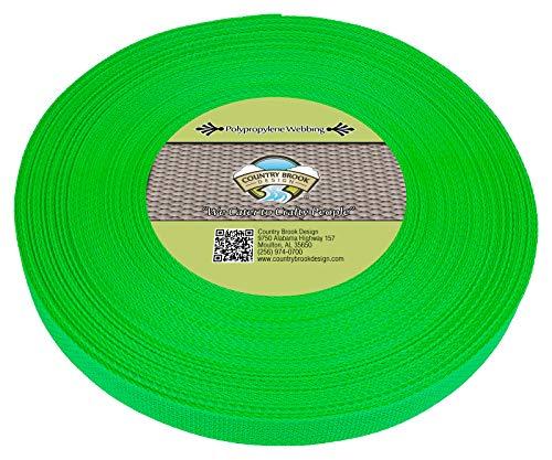 Country Brook Design | Polypropylene Webbing (1 Inch) (Hot Lime Green, 25 Yards)