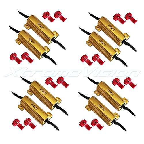 XtremeVision 50W 6Ohm LED Load Resistors for LED Turn Signal Lights or LED License Plate Lights (Fix Hyper Flash, Warning Cancellor) - 4 Pairs ()