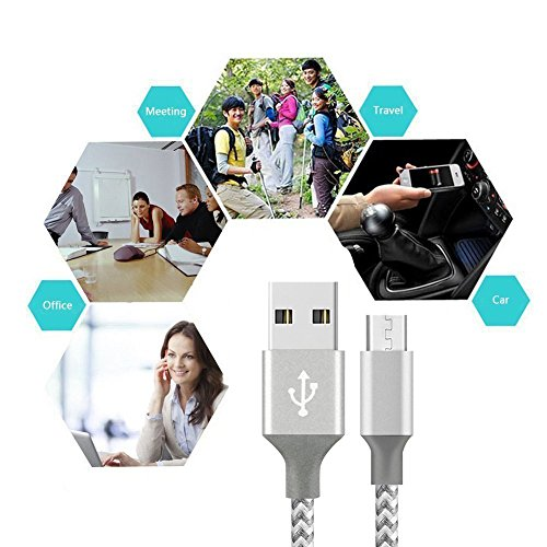 XIANDAN Micro USB Cable,4Pack 3FT 6FT 6FT 10FT Nylon Braided Android Charger USB to Micro USB Charging Charger Cord for Samsung Galaxy S7 Edge/S7/S6/S4/S3,Note 5/4/3 (Grey White) by XIANDAN (Image #5)
