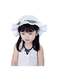Straw Panama Hat Girls Babies Children Bowknot Ribbon Summer Sun Hat