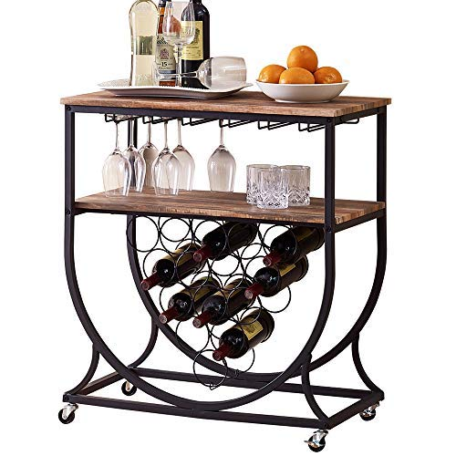 O K Furniture Industrial Kitchen Bar Serving Cart with Wine Rack and Glass Holder for Home, Vintage Brown