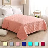 Super King Bedspreads and Quilts Super Soft Bedspread Coral,King Size 102x86 inches Diamond Pattern Lightweight Hypoallergenic Microfiber Bed Coverlet Quilt