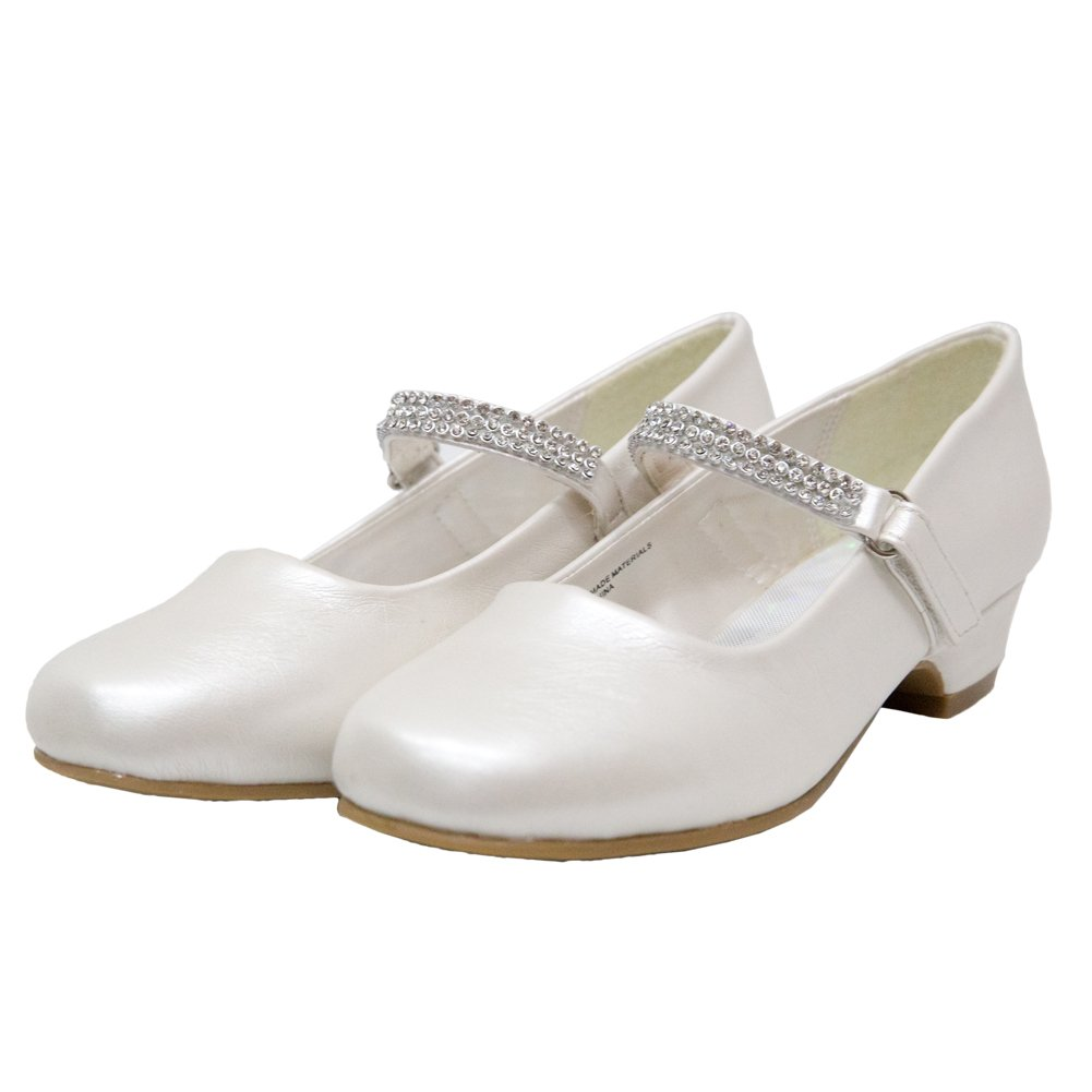 Ychen Kids Girls Low Heels Wedding Bridesmaid Shoes Dress Shoes With Rhinestones (4 M US Ivory)