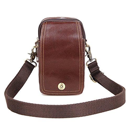 Genda 2Archer El Cuero de los Hombres Cuelga el Bolso del Teléfono Móvil del Bolso de la Cintura Bolso del Mensajero (los 10.5cm * 7cm * 18cm)