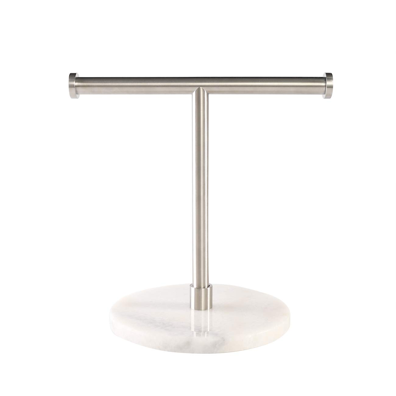 KES Towel Rack with Marble Round Base T-Shape Hand Towel Holder Stand SUS304 Stainless Steel Standing Tree Rack for Bathroom Vanity Countertop Brushed Finish, BTH205S2-2 by KES