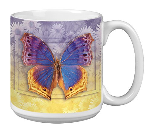 Tree-Free Greetings Extra Large 20-Ounce Ceramic Coffee Mug, Butterfly #3 Themed Vibrant Art (XM29505)