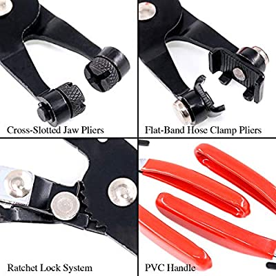 4Pcs Hose Clamp Plier Set, Including 2Pcs Cross Slotted and Flat Band Hose Hose Clamp Plier with 2Pcs Hose Removal Hook Set Perfect for Hose Installations of Low Radiators