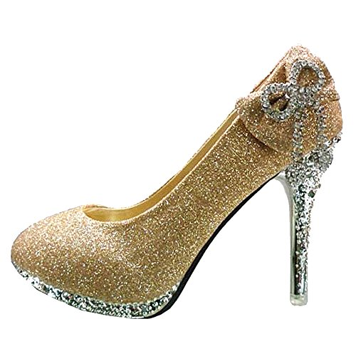 Getmorebeauty Women's Gold Bow Crystal Glitter Wedding Shoes 7 B(M) US