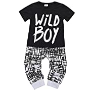 Collager Newborn Baby Boys Clothes Set Short Sleeve Wild Boy T-Shirt Pants Outfit (0-24M)