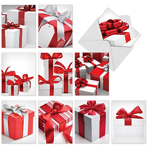 (M6048 Season'S Surprises: 10 Assorted Christmas Note Cards Featuring Images Of Red-And-White Gift Boxes Adorned With Ribbons And Bows, w/White Envelopes.)