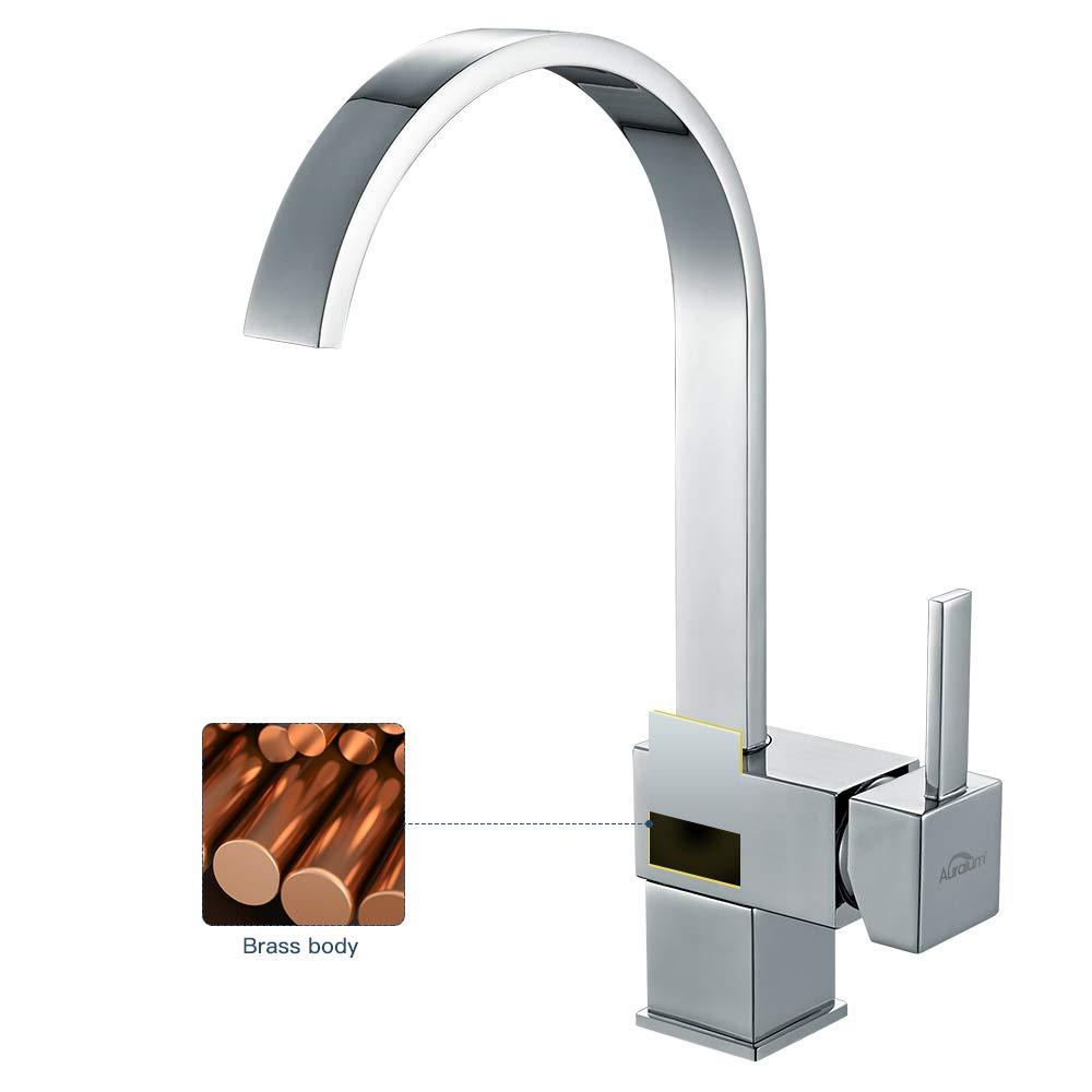 Auralum Grifos de Cocina 360/° Giratorio Lat/ón Cromado Mezclador de cocina Cuadrado Grifo Fregadero Elegante para Agua FrIa y Caliente