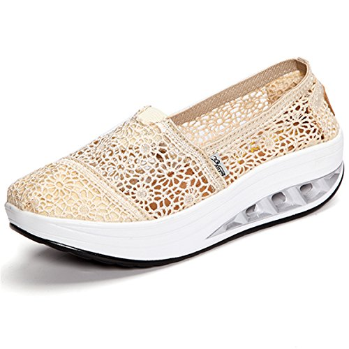 Gracosy Slip-On Athletic Walking Platform Shoes,Women's Lace Breathable Rocker Sole Shake Running Sneaker Beige 8 B(M) US