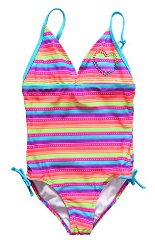 Attraco Big Girls Rainbow Stripe Splice One Piece Swimsuit Swimwear Size 10