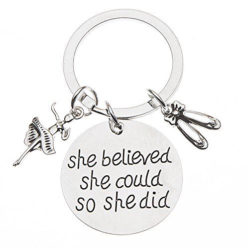 Infinity Collection Dance Keychain, Dance Jewelry, Dance She Believed She Could So She Did Keychain, for Dancers