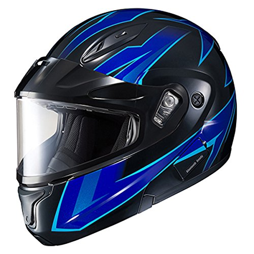 HJC CL-MAX2SN Ridge Run Modular Snow Helmet Framed Dual Lens Shield (MC-2 Neon Blue, Large)