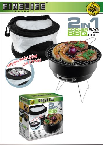 Portable Charcoal Grill and Cooler Bag Combination Set (2...