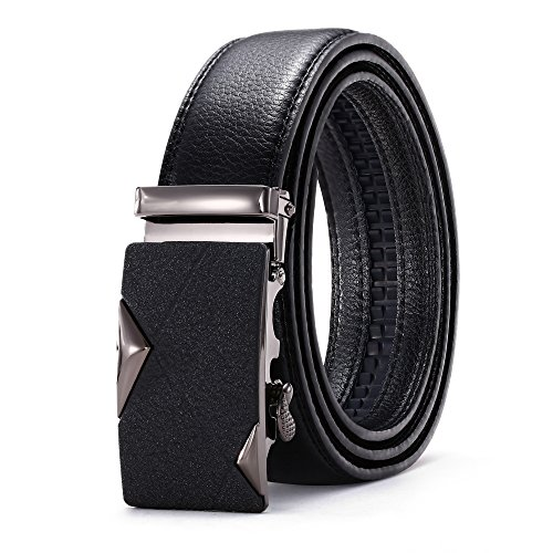 Men's Genuine Leather Ratchet Automatic Dress Belt By Greach Man -