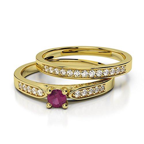 Or jaune 18carats 0,20CT G-H/VS Certifié Coupe ronde Rubis et diamant de mariage Bague de fiançailles et ensemble de Agdr-1054