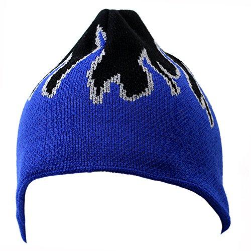 Magic Apparel 8 Inch Short Flame Design Knit Beanie Cap (One Size, Black/Royal/Gray)