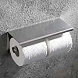 Hoooh Dual Toilet Paper Holder - SUS304 Stainless Steel Double Roll Bathroom Tissue Paper Holder with Mobile Phone Storage Shelf Brushed Nickel, C201-BN