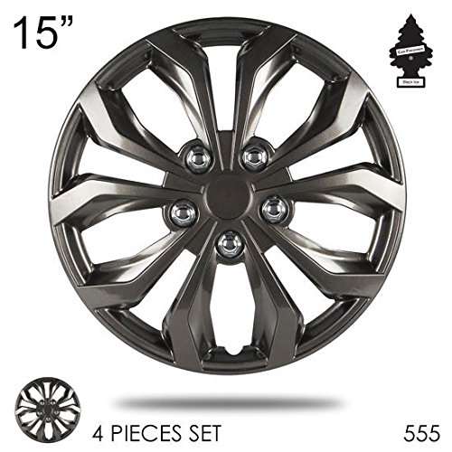 New Design 15 inch ABS Plastic Hubcaps Gunmetal Finish Performance Wheel Covers Hub Cap Full Lug Skin Set 555 with Air Freshener Gunmetal Wheel