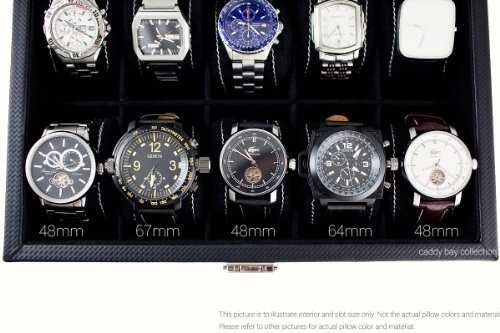 Caddy Bay Collection Black Carbon Fiber Glass Top Watch Case Holds 10 Large Watches