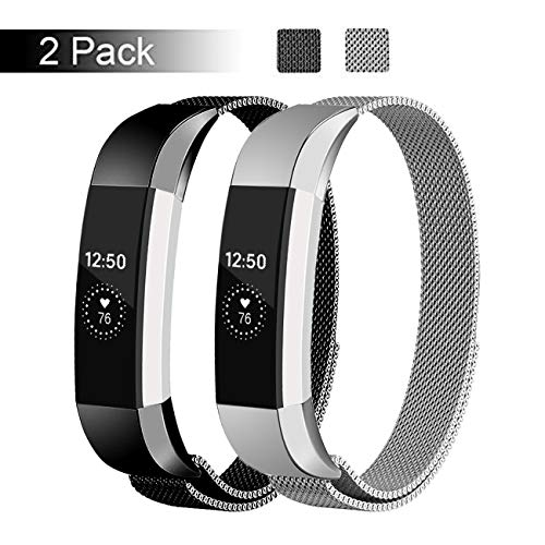 - Fundro Replacement Bands Compatible with Alta HR and Alta, Stainless Steel Metal Bracelet Strap Replacement Wristband for Alta Women Men, 2 Pack(Black/Silver, Large)