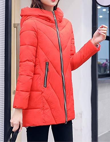 Red Spesso Piumino Caldo Parka Zipper Invernale Giacca Ultraleggeri Zhhlaixing Moda Trapuntata Con E Cappuccio Slim Da Donna nWaRWPqF