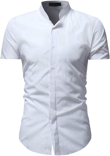 CHENS Camisa/Casual/Unisex/L Camisa de Vestir para Hombre Camisa de Verano para Hombre Talla Grande Sólido Casual con Botones Camisa de Manga Corta Top Blusa Ropa Blanca Koszula: Amazon.es: Deportes y aire libre