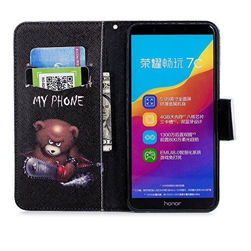 EUWLY Huawei Honor 7C Leather Wallet Case,Huawei Honor 7C Protective Case [Cash and Card Slots],Beautiful 3D Colorful Pattern Elegant Retro Pattern Pu Leather Case Book Wallet Flip Cover [Kickstand] [ Electric Saw Bears