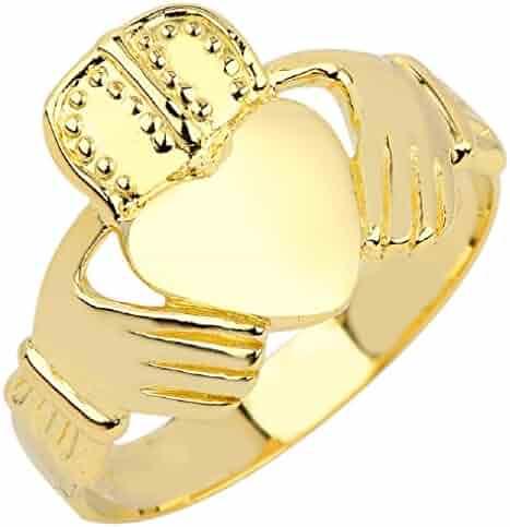 Men's 14k Yellow Gold Classic Polished Band Irish Claddagh Ring