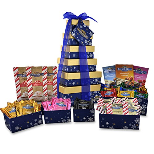 Chocolate Usa Gift Tower - Ghirardelli 6 Tier Tower Holiday Chocolate Gift Set, Blue Snowflakes, 35.30 Ounce