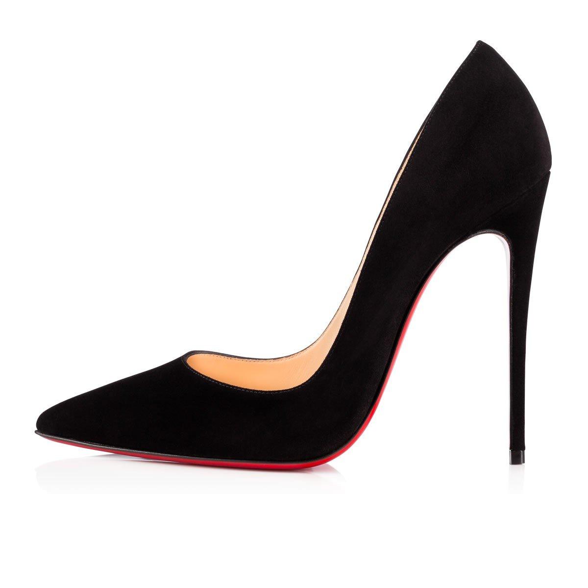 Chris-T Damen Formal Spitze Pumps Grund Legende Schuhe Hoher Absatz Schuhe Stilettos Sexy Slip-on Kleid Schuhe Absatz Schwarzes Wildleder/R0te Sohle(unterseite) e2739e