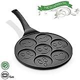 FRUITEAM Smiley face Pancake Pan Nonstick Griddle 10 Inch Pancake Maker Mini Pancake