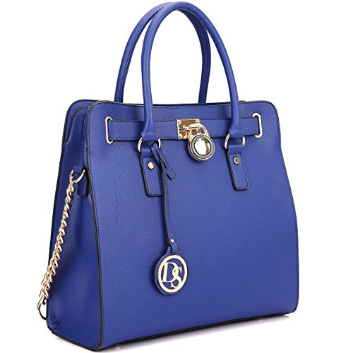dasein-large-saffiano-leather-tote-briefcase-satchel-shoulder-bag-with-chain-shoulder-strap-2553-blu