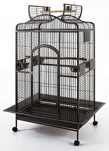 New Large Wrought Iron Open/Close Play Top Bird Parrot Cage, Include Metal Seed Guard Solid Metal Feeder Nest Doors Overall Dimensions: 35.25