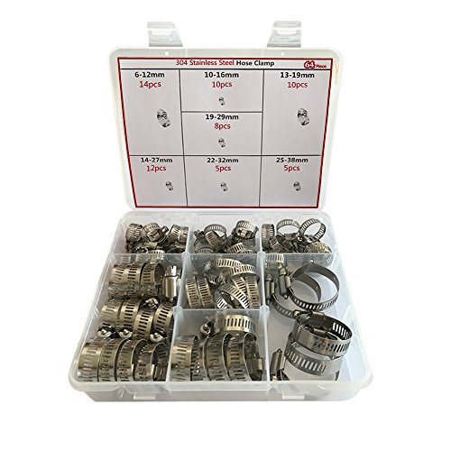 Hose Clamp,64 Pcs All Stainless Steel Adjustable 6-38mm Range Worm Gear Hose Clamp Assortment Kit (1) by BALL-LM