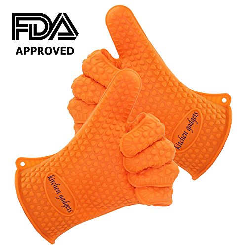 Best Prices! Oven Gloves Heat Resistant, BBQ Gloves, Oven Mitts Heat Resistant For Protect Your Hands from Grilling, Baking, Smoking, Cooking- 1 Size Fits Most of All(Orange) – FDA Approved Oven Mitts