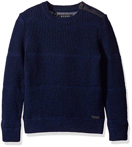 GUESS Big Boys' Long Sleeve Mixed Media Fleece and Sweater Knit, Blue Navy/Bleu, (Guess Wool Sweater)