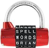 Wordlock PL-002-RD 5-Dial Padlock, Red