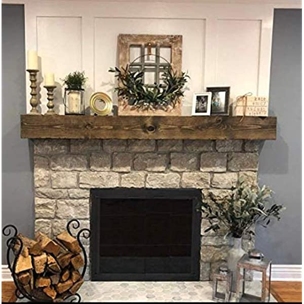 Distressed White or Black Rustic Wood Beam Floating Shelf Fireplace Mantel with Corbels U Pick Size /& Finish