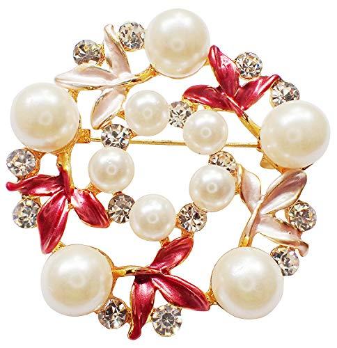 - Bijoux De Ja Gold Tone Enamel Rhinestone Faux Pearl Wreath Woman Brooch Pin (Red)