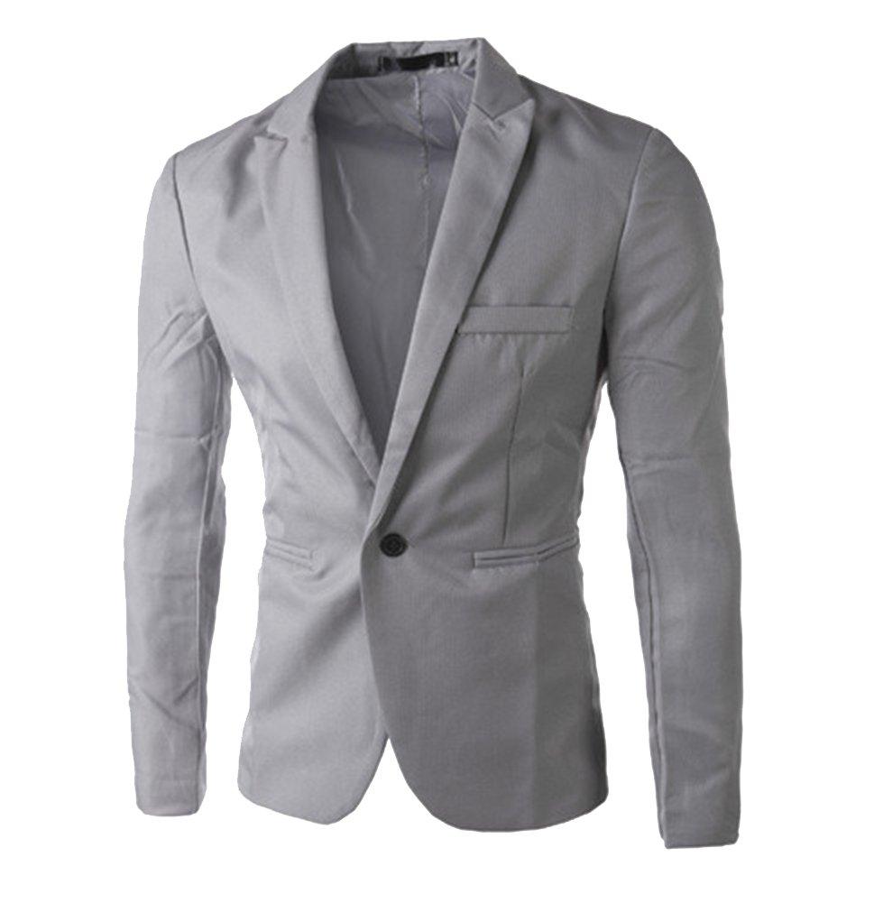 Runyue Slim Fit Uomo Casual One Button Elegante Vestito di Affari Cappotto Giacca Blazers